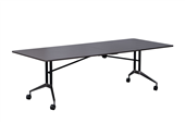 BOARDROOM TABLE RAPID EDGE FOLDING 2400WX1000DX743HMM BLACK FRAME DRIFTWOOD TOP RUBBER EDGING
