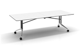 BOARDROOM TABLE RAPID EDGE FOLDING 2400WX1000DX743HMM BLACK FRAME NATURAL WHITE TOP RUBBER EDGING