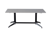 BOARDROOM TABLE RAPID TYPHOON 1800WX900DX750HMM RECTANGULAR DUAL POST BLACK FRAME GREY TOP
