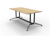 BOARDROOM TABLE RAPID TYPHOON 1800WX900DX750HMM RECTANGULAR DUAL POST BLACK FRAME NATURAL OAK TOP