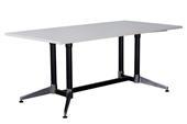 BOARDROOM TABLE RAPID TYPHOON 2400WX1200DX750HMM RECTANGULAR DUAL POST BLACK FRAME NATURAL WHITE TOP