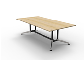BOARDROOM TABLE RAPID TYPHOON 2400WX1200DX750HMM RECTANGULAR DUAL POST BLACK FRAME NATURAL OAK TOP