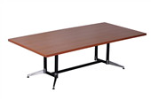BOARDROOM TABLE RAPID TYPHOON 2400WX1200DX750HMM RECTANGULAR DUAL POST BLACK FRAME CHERRY TOP