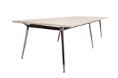 BOARDROOM TABLE RAPID AIR 2400WX1200DX750HMM SINGLE STAGE POLISHED ALUMINIUM BASE NATURAL WHITE TOP