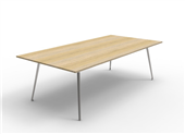 BOARDROOM TABLE RAPID AIR 2400WX1200DX750HMM SINGLE STAGE POLISHED ALUMINIUM BASE NATURAL OAK TOP