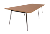 BOARDROOM TABLE RAPID AIR 2400WX1200DX750HMM SINGLE STAGE POLISHED ALUMINIUM BASE BEECH TOP