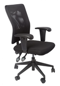 CHAIR CLERICAL AM100 MEDIUM BLACK MESH BACK BLACK SEAT